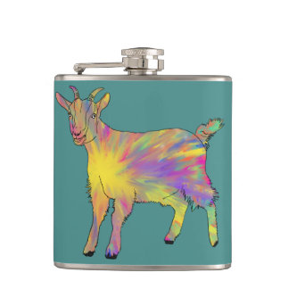 Multicoloured Funny Artsy Goat Animal Art Design Hip Flask