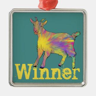 Multicoloured Funny Artsy Goat Animal Art Design Metal Ornament