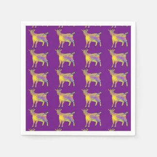 Multicoloured Funny Artsy Goat Animal Art Design Paper Napkin