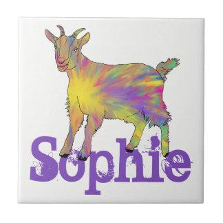 Multicoloured Funny Artsy Goat Animal Art Design Tile