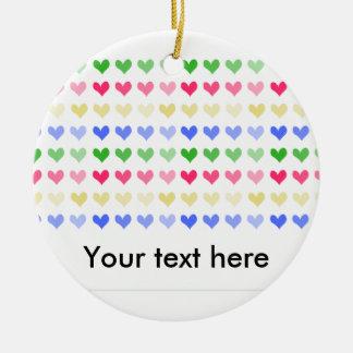 Multicoloured hearts design ornament