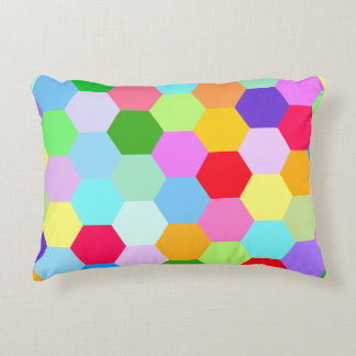 Multicoloured Hexagon Pattern Accent Pillow