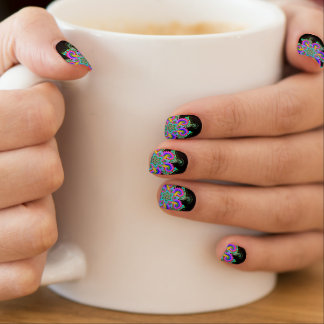 Multicoloured mandala, Bold and black fashion, Minx Nail Art
