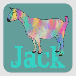 Multicoloured painted Goat Design with Your Name Square Sticker