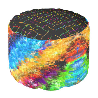Multicoloured Psychedelic Abstract Pouf