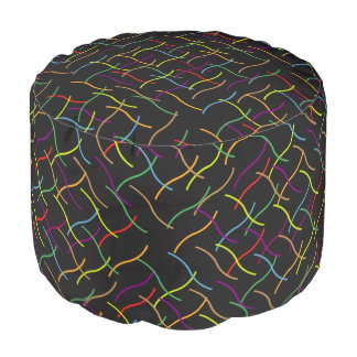 Multicoloured Scattered Lines Pouf