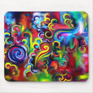 Multicoloured Swirls Mouse Pad