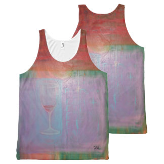 "Multicoloured Unisex Sports Tank Top ""Wine Glass"""