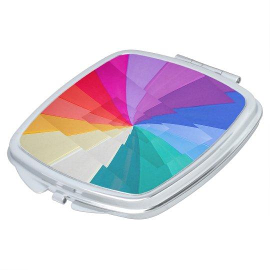 multicoloured vortex on compact square mirror vanity mirror