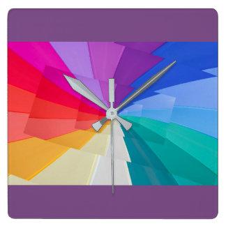 multicoloured vortex on square wall clock