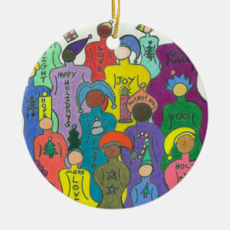 Multicultural Christmas Circle Ornament-2 Sided Ceramic Ornament