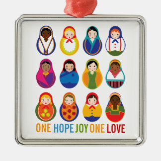 Multicultural Nesting Dolls One Love World Peace Metal Ornament