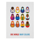 Multicultural Nesting Dolls One World Many Colours Poster