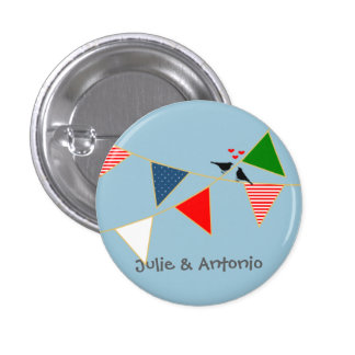 Multicultural Wedding Mexico Bunting Favor Button