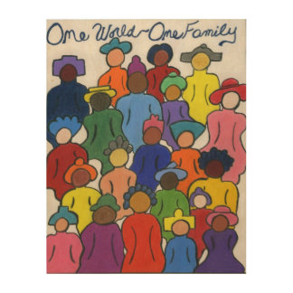 Multicultural wood wall art, One World, One Family Wood Canvases