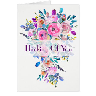"""Multifloral Bouquet """"Thinking of You"""" Note Card"""