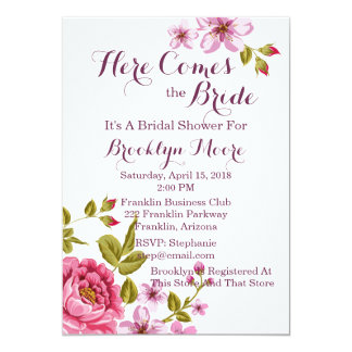 Multifloral Pink Tones Bridal Shower Invitation