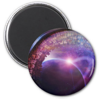 Multigenerational Interstellar City Ship 2 Inch Round Magnet