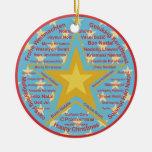 Multilingual Christmas Round Ceramic Ornament