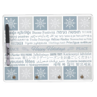 Multilingual Happy Holidays message board Dry-Erase Boards