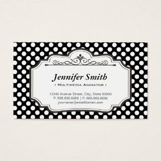Multimedia Animator - Black Polka Dots Business Card