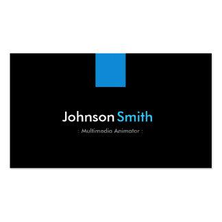 Multimedia Animator Modern Aqua Blue Business Card