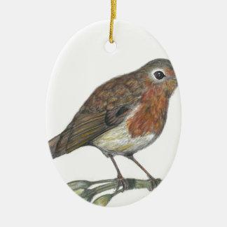 Multimedia Robin Ceramic Oval Ornament