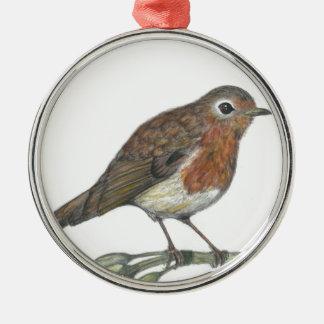 Multimedia Robin Silver-Colored Round Ornament