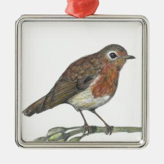 Multimedia Robin Silver-Colored Square Ornament