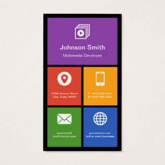 Multimedia Studio - Colorful Tiles Creative Business Card