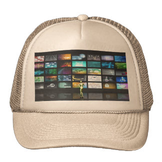 Multimedia Technology with Woman Staring at Screen Trucker Hat