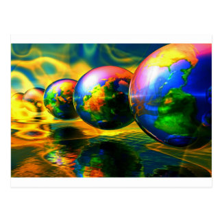 Multiple burning globes postcard