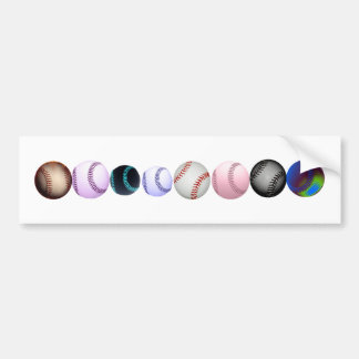 Multiple Colored And Styles Of Baseballs Bumper Sticker
