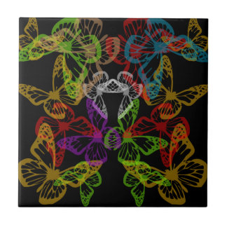 Multiple colorful butterflies tile