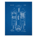 Multiple-electrode Vacuum Tube Patent - Blueprint Poster