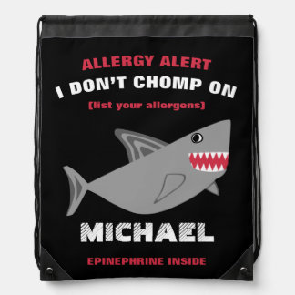 Multiple Food Allergy Alert Shark Drawstring Bag