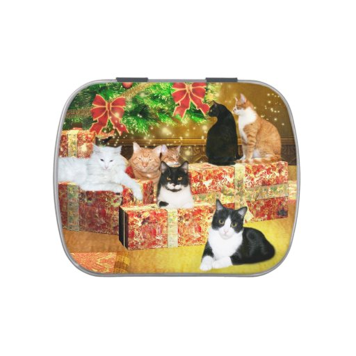 Multiple kitties Christmas Jelly Belly Candy Tin