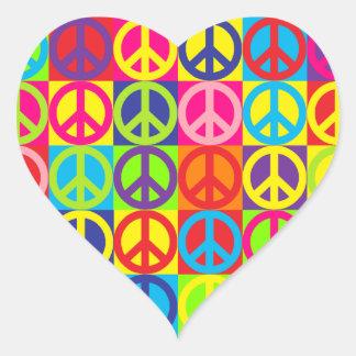 Multiple Multicolor Peace Heart Sticker