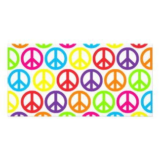 Multiple Multicolor Peace Signs Custom Photo Card