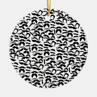 Multiple Mustache Variations Pattern Ceramic Ornament