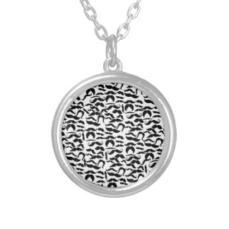 Multiple Mustache Variations Pattern Silver Plated Necklace