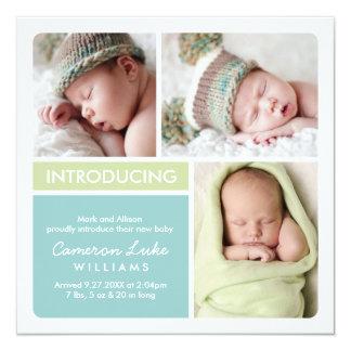 Multiple Photo Birth Announcement | Aqua, Green