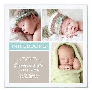 Multiple Photo Birth Announcement | Aqua Taupe Custom Announcements