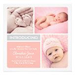 Multiple Photo Birth Announcement   Blush, Gray