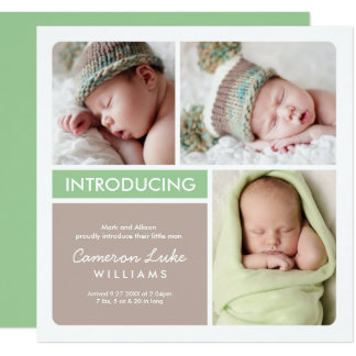 Multiple Photo Birth Announcement | Green Taupe