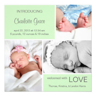 Multiple Photo Birth Announcement Light Green