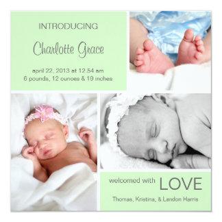 Multiple Photo Birth Announcement//Light Green