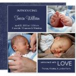"Multiple Photo Birth Announcement//Navy Blue Denim 5.25"" Square Invitation Card"