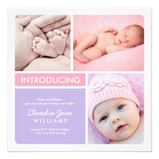 Multiple Photo Birth Announcement Pink Purple