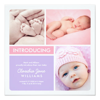 Multiple Photo Birth Announcement | Pink Purple